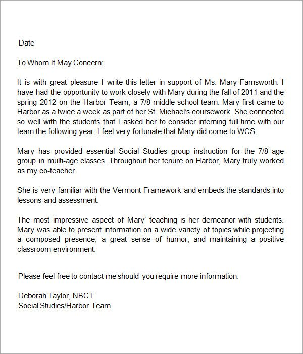 Letter Of Recommendation Word Template Sample Letter Of Recommendation For Teacher  18 Documents In Word .