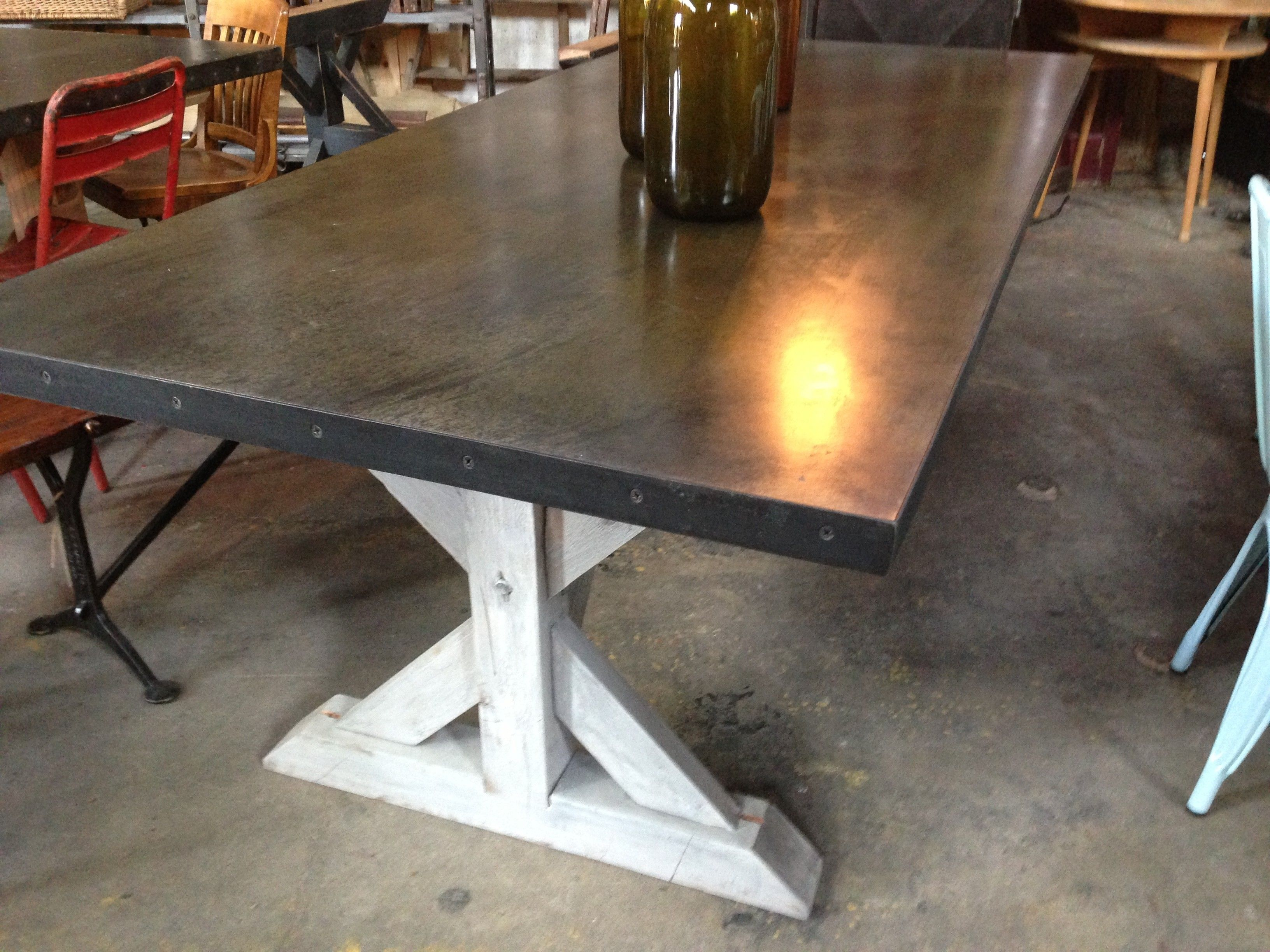 Concrete Top Dining Tables Two Tone Trestle Table Dark Stain Top Whitewash Legs Current