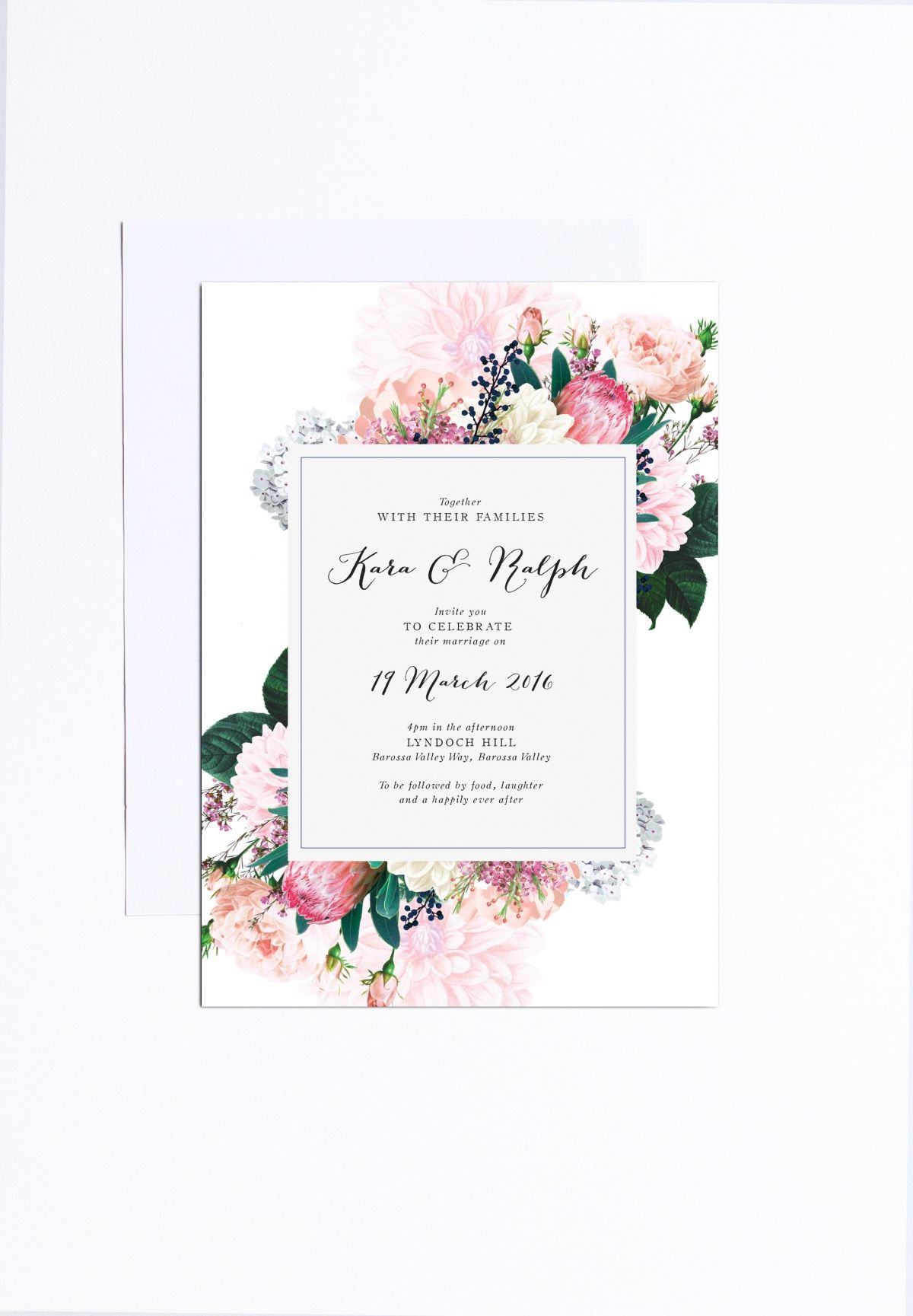 Native Floral Wedding Invitations Sail and Swan | Protea wedding ...