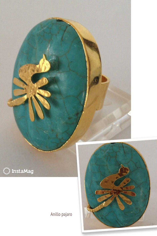 #Anillo piedra turquesa con pájaro, en bronce con baño de oro.