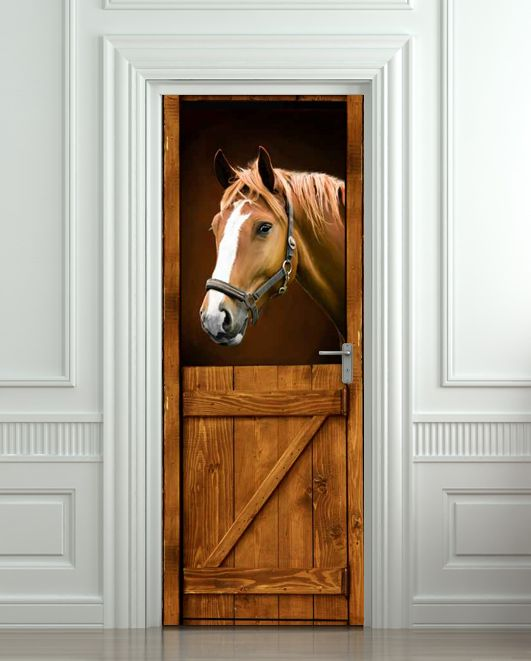 Self adhesive door murals door sticker horse barn stable for Door mural wallpaper