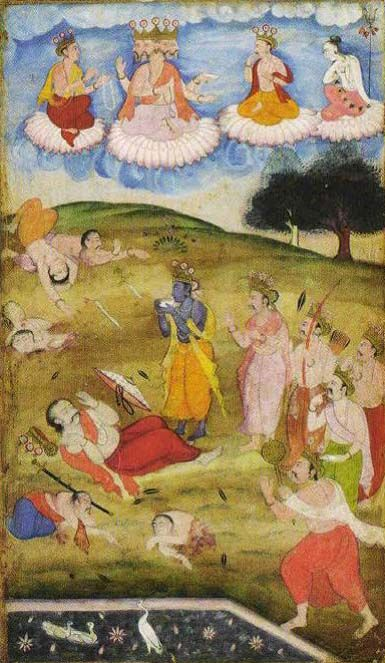 Krishna declaring the end of Mahabharata War by blowing the