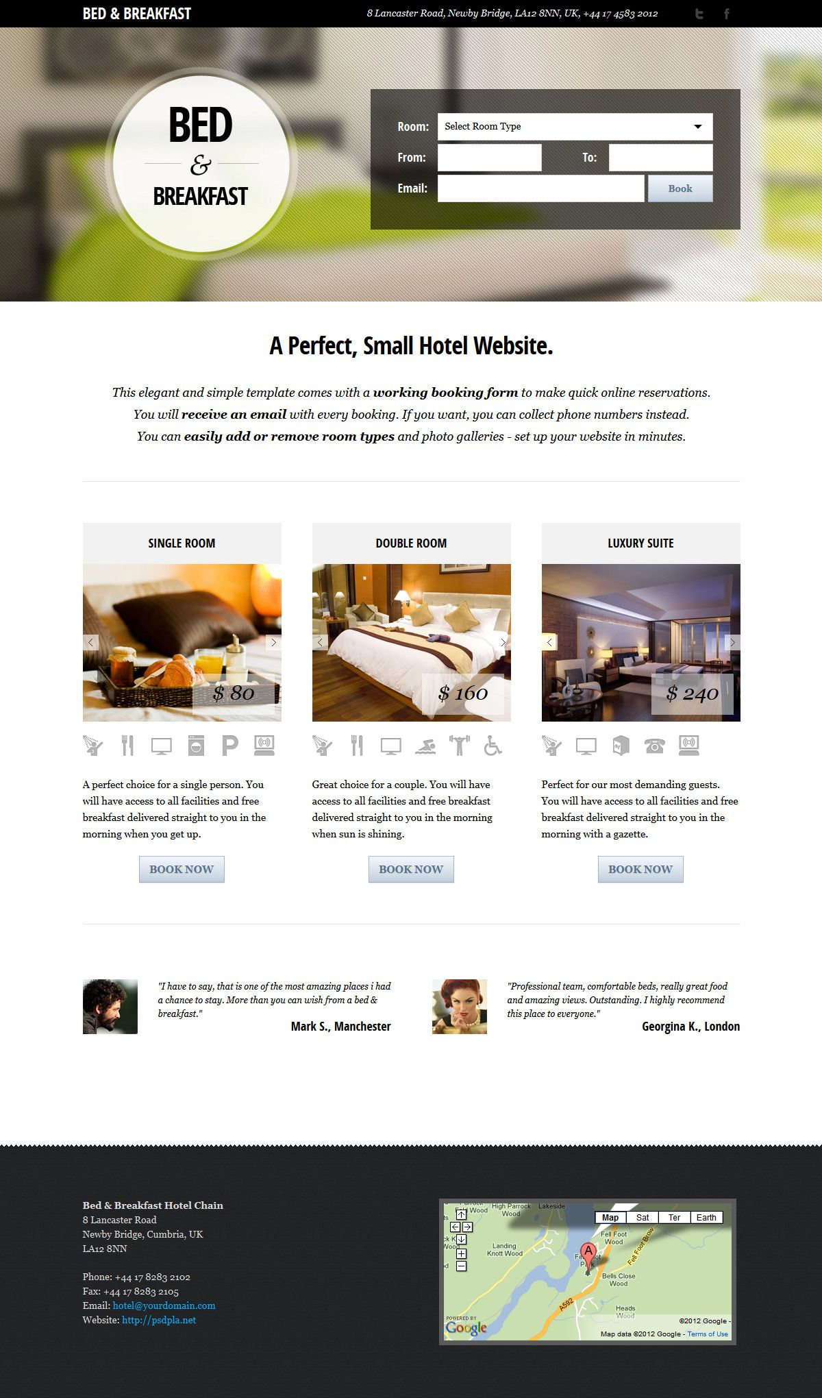 Bed Breakfast Hotel Landing Page Bed And Breakfast