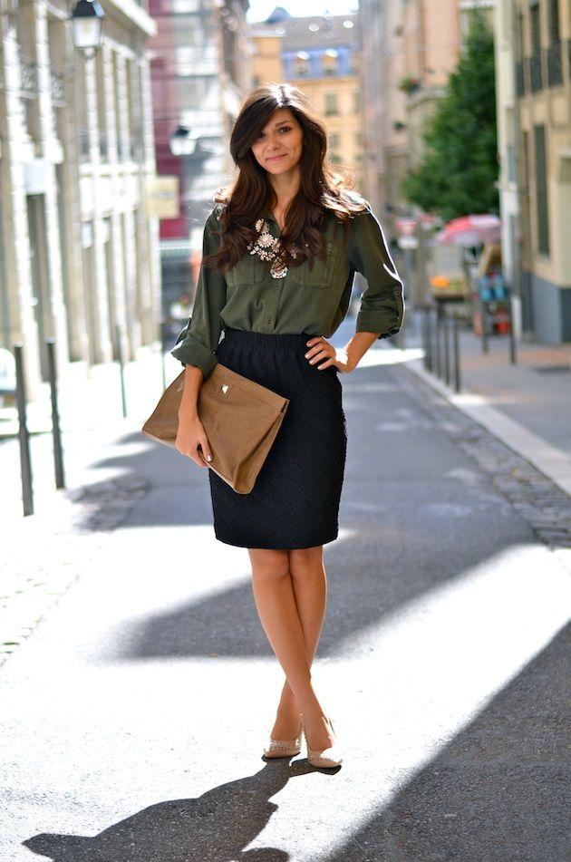 Pencil skirt H / Shirt & necklace Zara / Bag & heels SUITEBLANCO