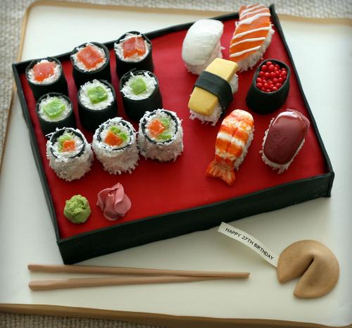 sushi cake .