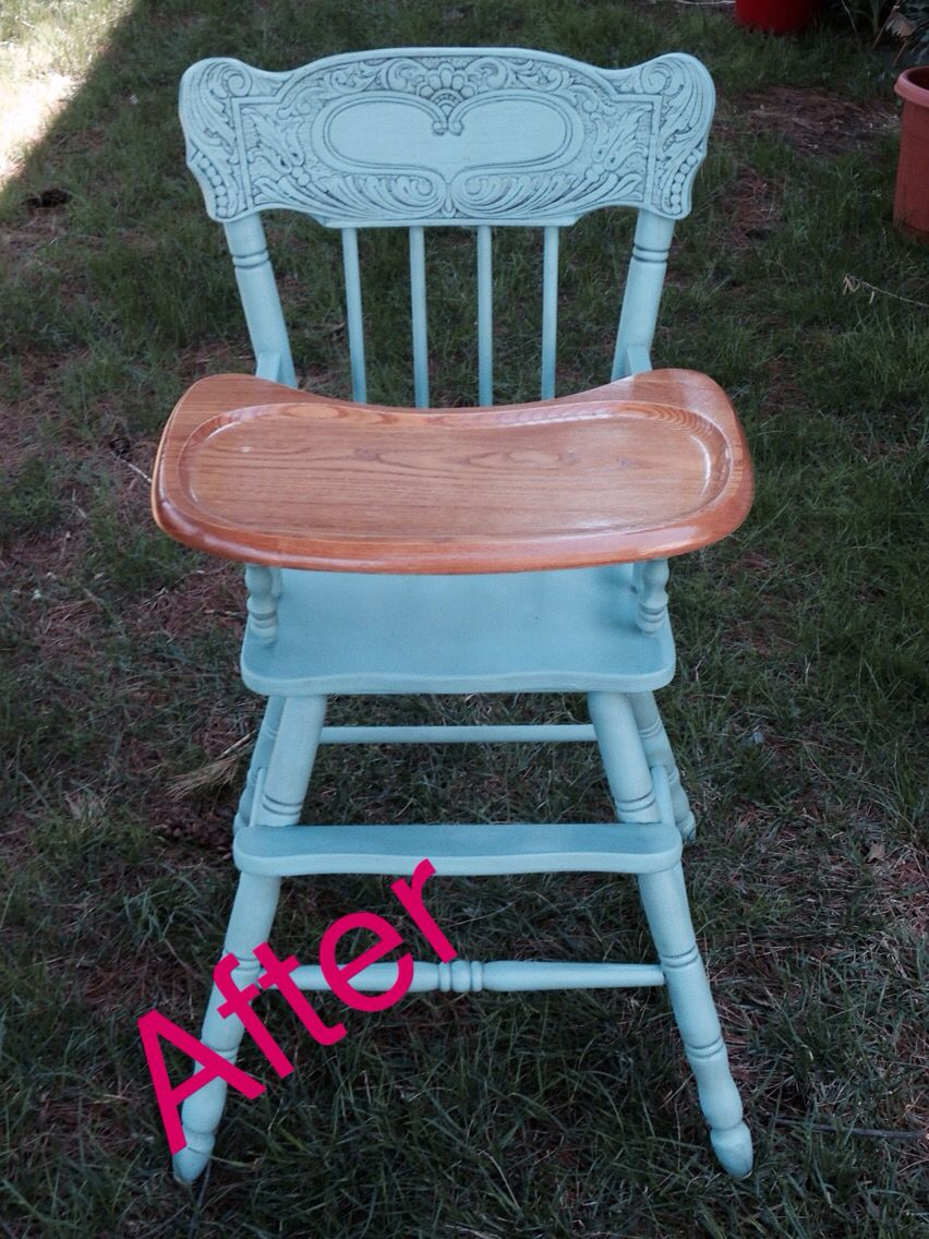 Refinished wooden high chair Painted high chairs, Wooden