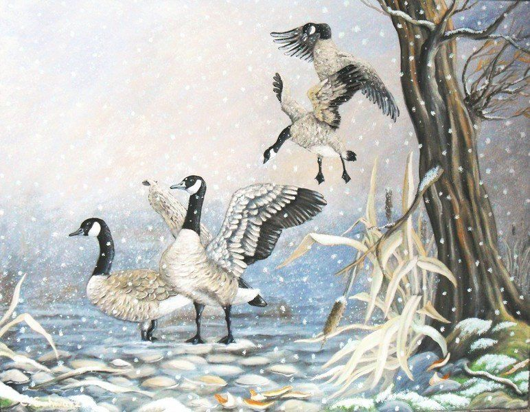 Acrylbild KANADAGÄNSE IM SCHNEEGESTÖBER 90cm x 69,5cm – Kunst Winterbild Gänse Unikat