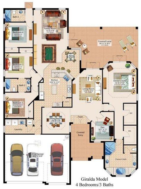 Plano de casa moderna de 4 dormitorios y 3 ba os planos for Planos de casas campestres de dos plantas
