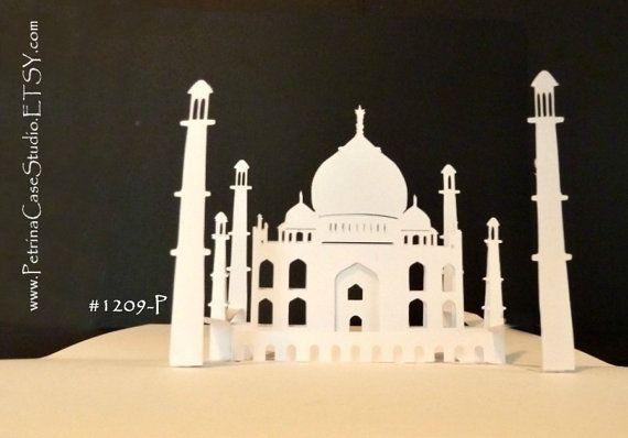 Taj Mahal Printable Pattern Pop Up Card Make Your Own 180 Degrees Item 1209 P Diy Digital Download In 2021 Pop Up Card Templates Taj Mahal Printable Patterns