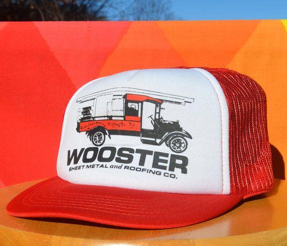 80s Vintage Foam Trucker Mesh Hat Wooster Sheet Metal Roofing Ohio Red White Snapback Madhatter Baseball Cap Rockstar Mesh Hat Sheet Metal Roofing Hats
