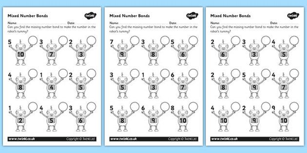 Mixed Number Bonds To 10 On Robots Worksheet For Educators