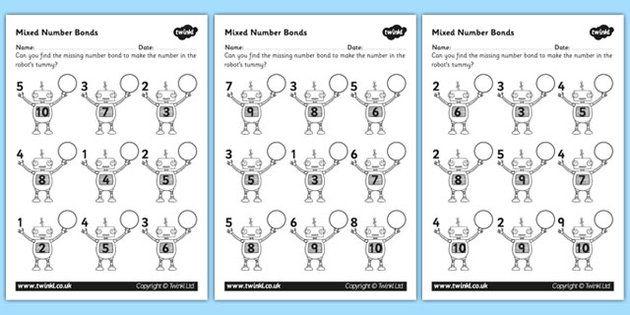Mixed Number Bonds to 10 on Robots Worksheet – Number Bond Worksheet