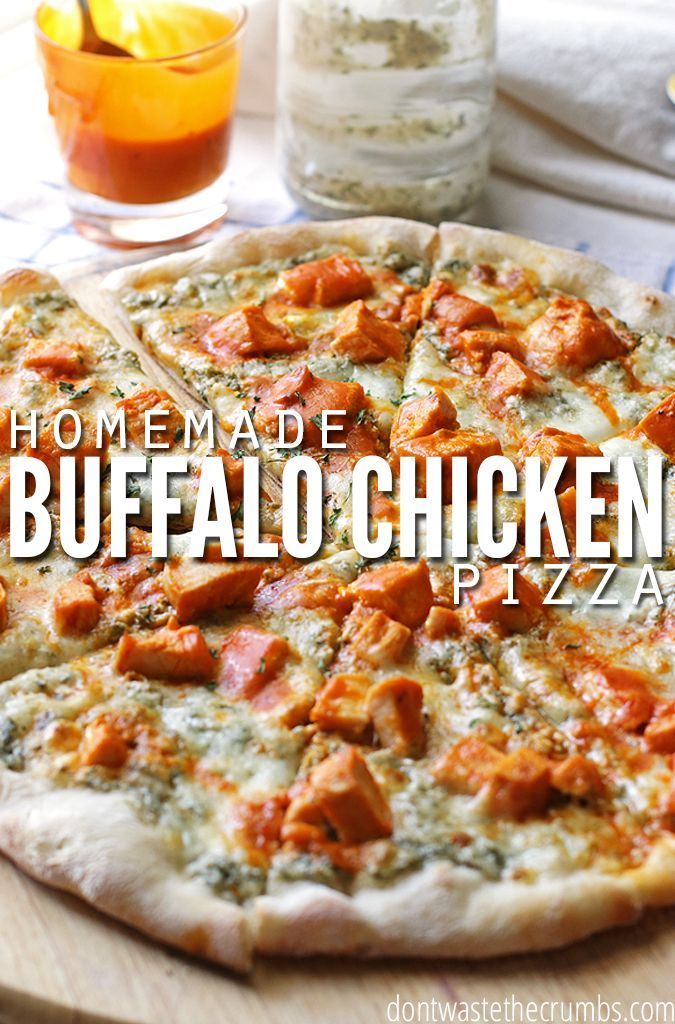 My husband used to only eat pepperoni pizza until he tried this - now he won't eat anything else! This easy recipe for buffalo chicken pizza combines homemade ranch dressing with pizza dough from scratch to make the best homemade pizza ever - hands down! :: DontWastetheCrumbs.com