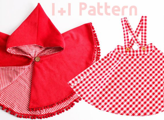 Girl's dress/ 1+1 Kid's sewing pattern pdf/ Kid's suspender skirt and red riding hood / 2 patterns/ , sizes 2T to 7Years.