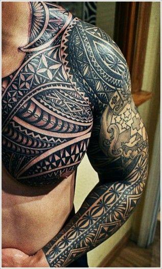 Tatouage maori tattoo bras complet et poitrine homme