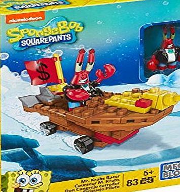 SpongeBob Squarepants Mr Krabs Racer Figure Building Kit Mega Bloks Toy
