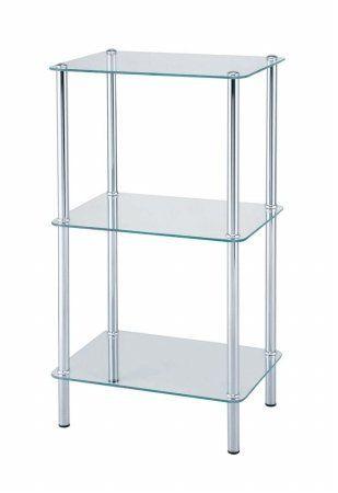 Kirch 19U34 3-Tier Glass Shelf - Chrome - Tempered Glass by Kirch