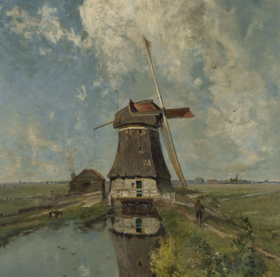 Dutch windmill on polder waterway Paul Gabriël Napkins
