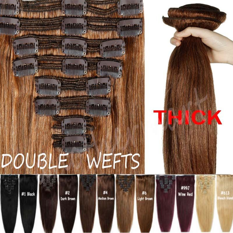 Elegant Thick Double Wefted Clip In Remy Human Hair Extensions Full