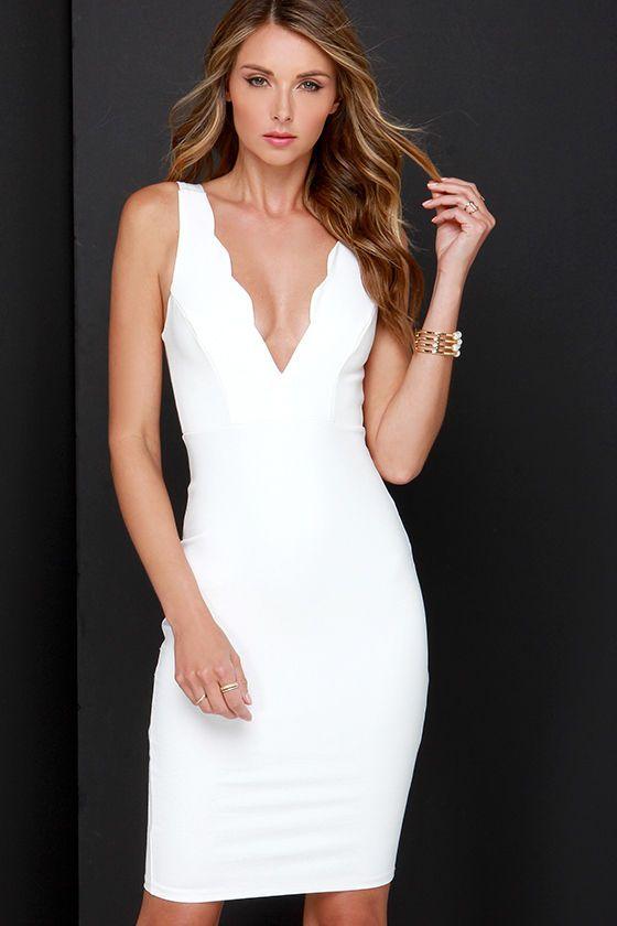 Work of Heart Midi Ivory Bodycon Dress | Ivory, Bodycon dress and ...