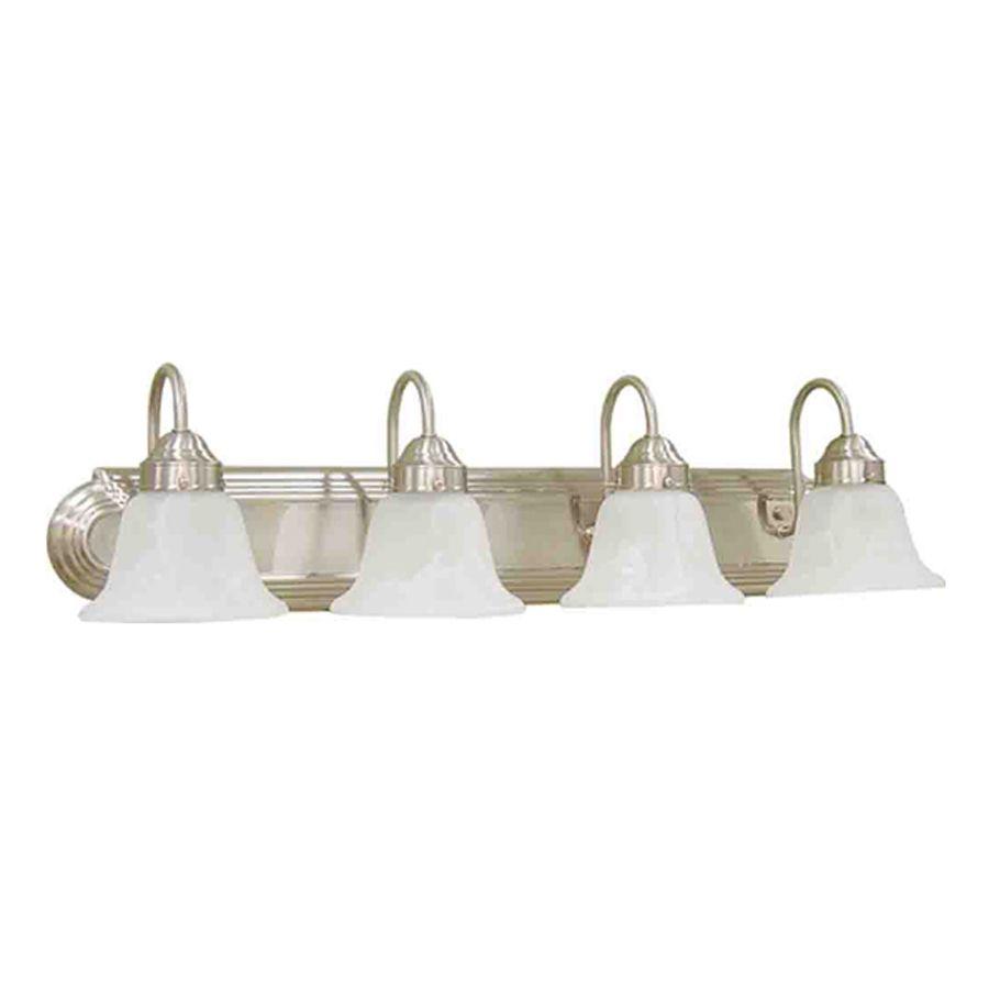 Volume International Minister Light In Brushed Nickel Bell - 8 light bathroom bar