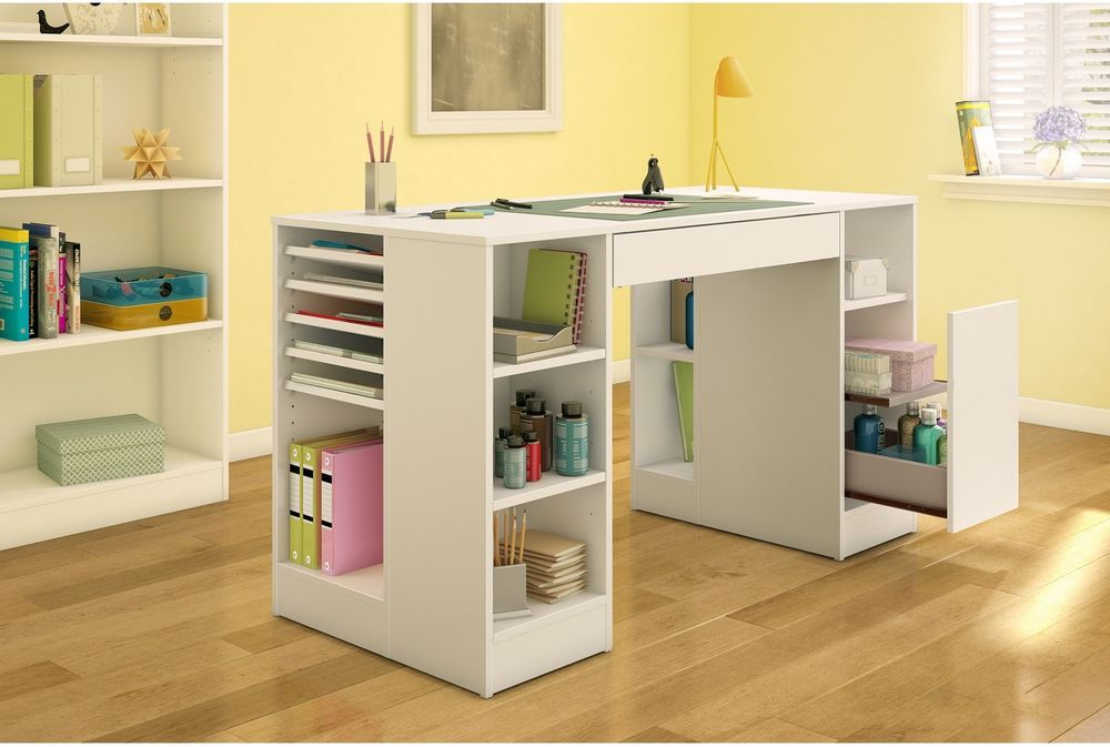 Recollections Large Desktop Panel Craft Tables With Storage Scrapbook Storage Craft Room Tables