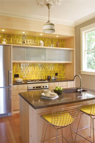Wow Such A Fun And Bold Kitchen Featuring Handmade Yellow Tile