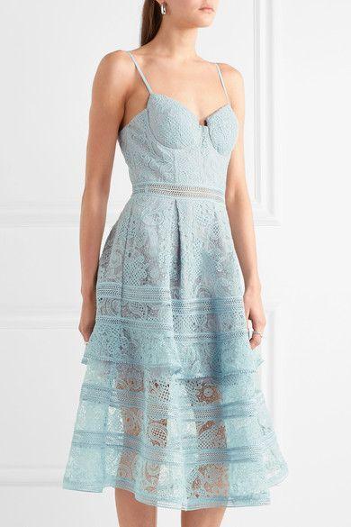 dcf1cfe82715 Self-Portrait - Tiered Paneled Guipure Lace Dress - Sky blue ...