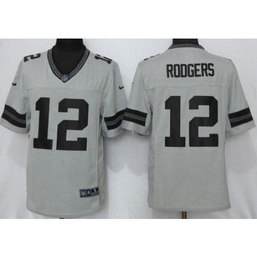 Men s Green Bay Packers  12 Aaron Rodgers Gray Gridiron II Limited Jersey ff95201dc