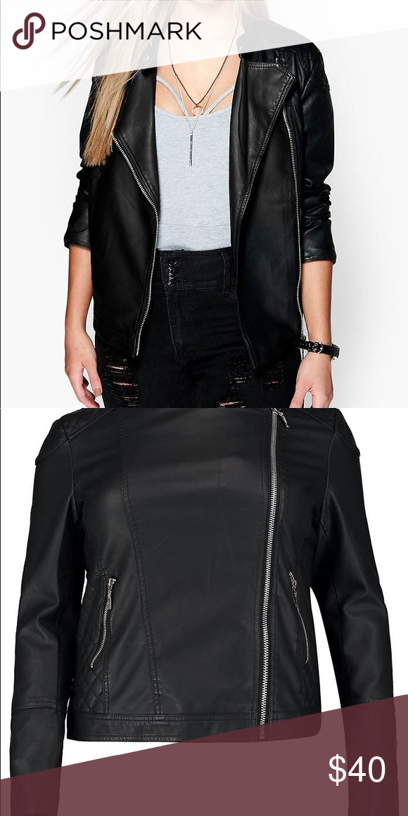 """f9a075d027212 Boohoo Plus """"Eliza"""" Quilted Faux Leather Jacket Faux leather jacket! Never  worn the size was not right for me. Just bought it recently. Boohoo Plus  Jackets ..."""