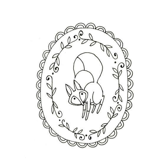 Fox Embroidery Pattern Printable Woodland Animal Digital