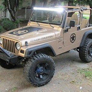 Jeep Wrangler Star Invasion Matte Black Hood Blackout Decal Kit - Jeep hood decalsmatte black jeep hood decal