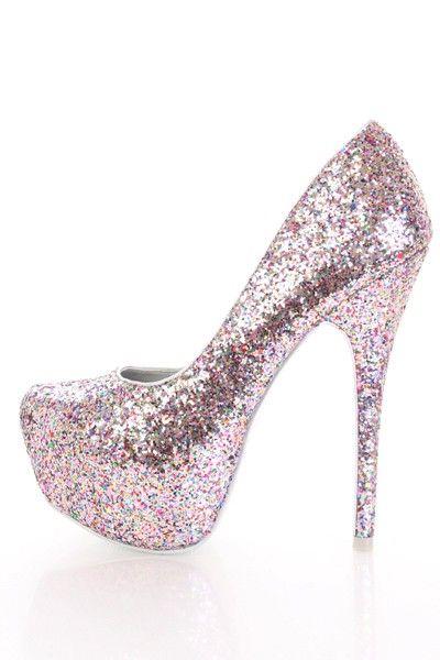 351b36c45dfc1 Silver Multi Glitter Faux Leather Platform Pump Heels @ Amiclubwear ...