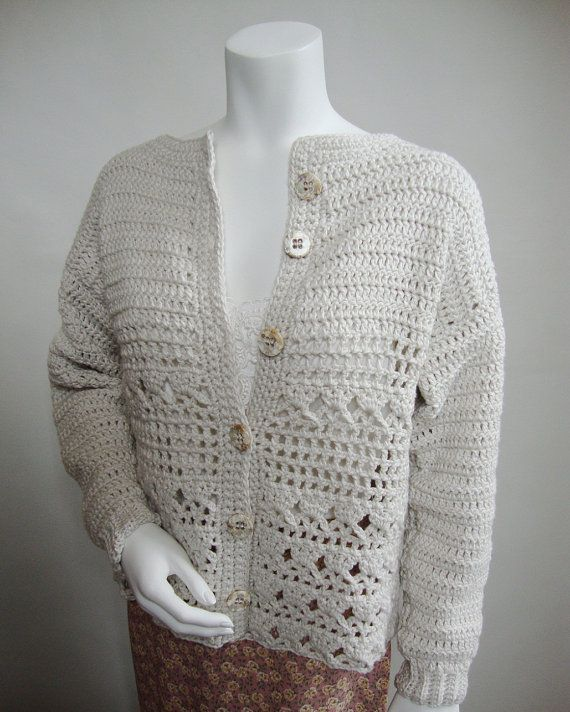 White Cardigan, Cotton Cardigan, Crocheted Cardigan, White ...