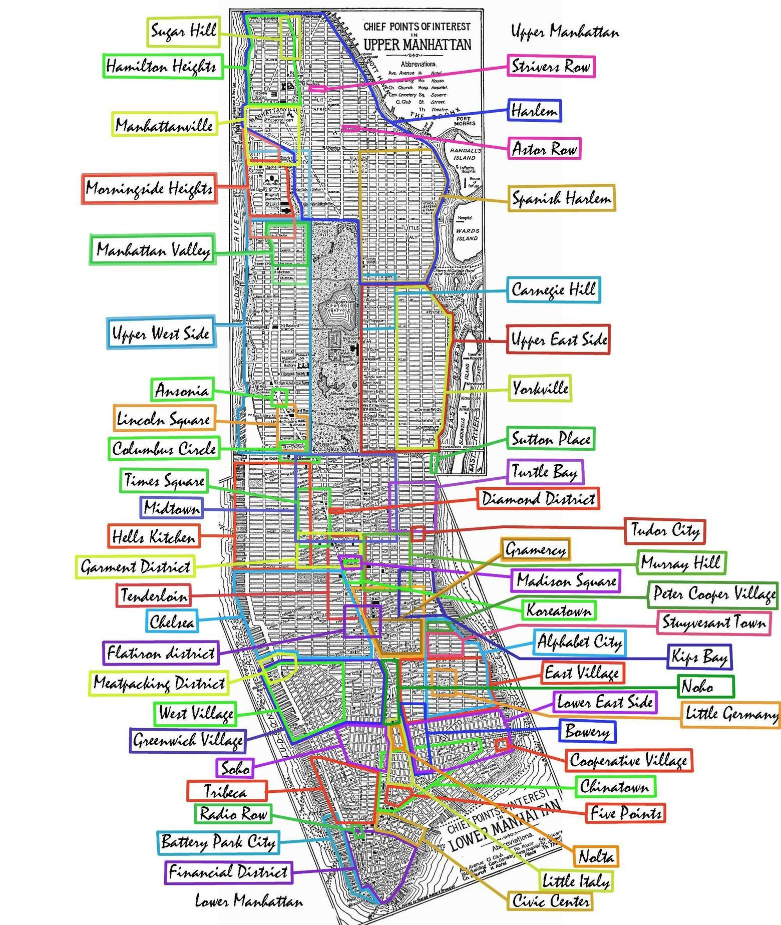 New York Subway Map Hide.Fun And Thorough But Jumbled Map Of Manhattan S Hoods 1560 X