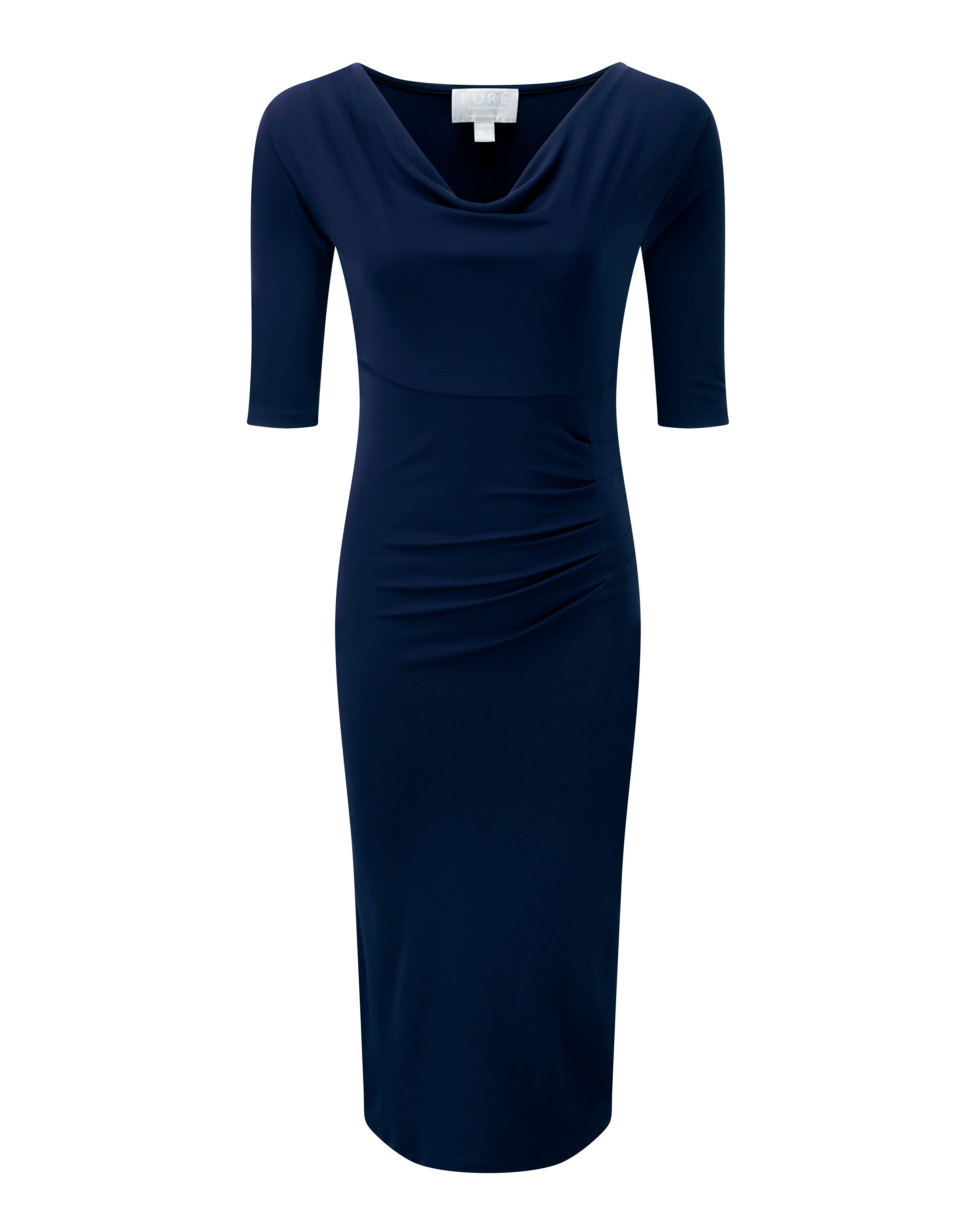 Farb- und Stilberatung mit www.farben-reich.com - It's all about a sophisticated silhouette in French navy this season. Our cowl neck dress is carefully designed to fit and flatter all shapes. Featuring...