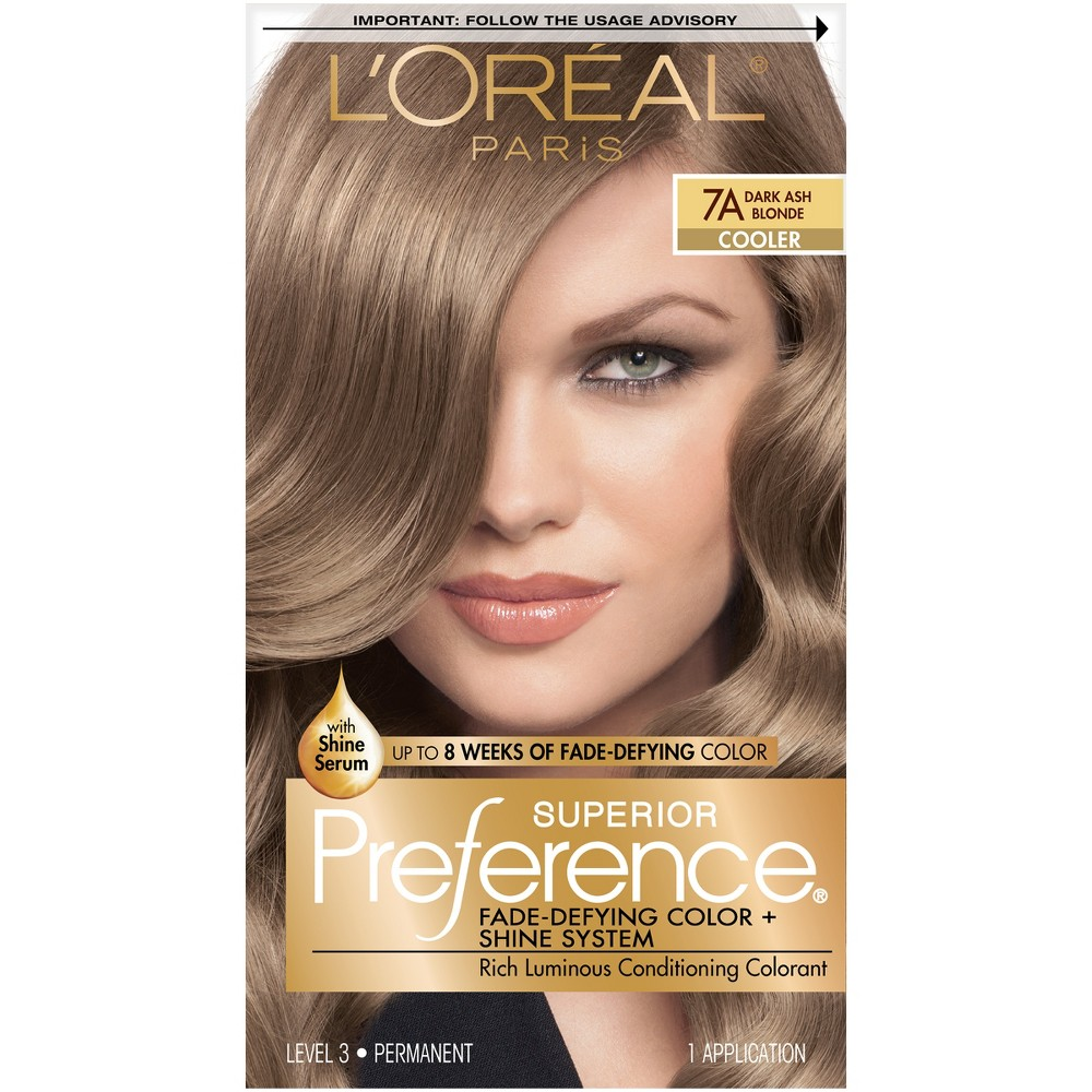 L Oreal Paris Superior Preference Fade Defying Color Shine System 6 5 Fl Oz 7a Dark Ash Blonde 1 Kit Dark Ash Blonde Hair Color At Home Hair Color