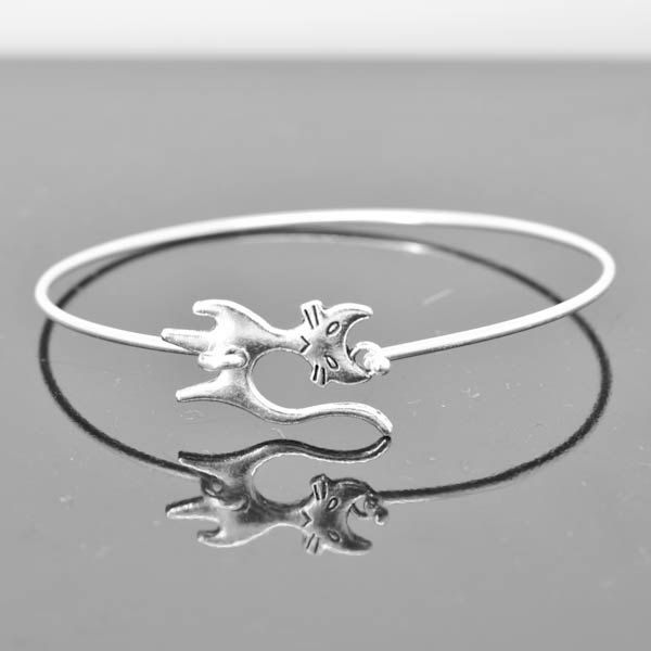 Cat Bangle, Sterling Silver Bangle, Cat Bracelet, Stackable Bangle, Charm Bangle, Bridesmaid Bangle, Bridesmaid jewelry, Bridal Bracelet by Jubiledesign on Etsy