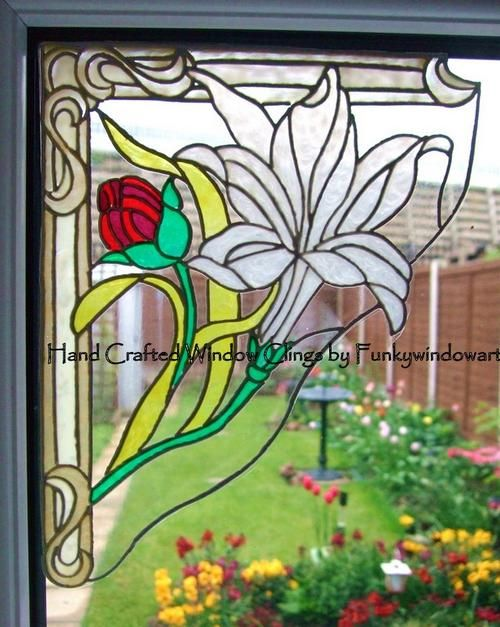 victorian white lily corners x 2 window clings hand painted victorian window clings window art. Black Bedroom Furniture Sets. Home Design Ideas