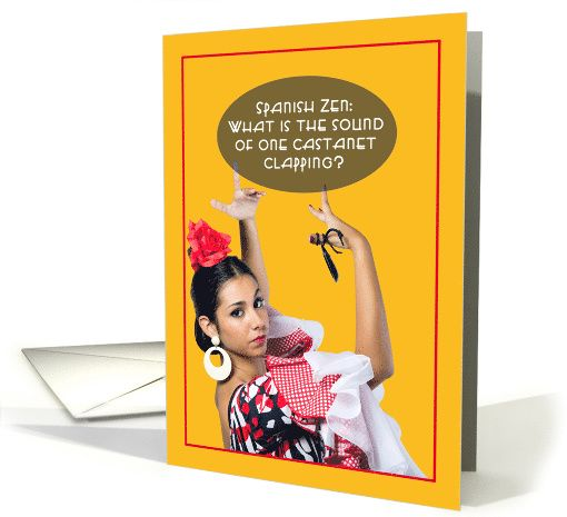spanish zen one castanet clapping funny birthday card