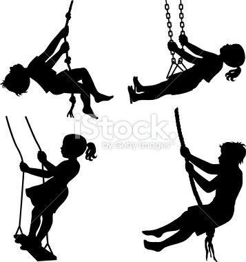 Kids on swings Royalty Free Stock Vector Art Illustration