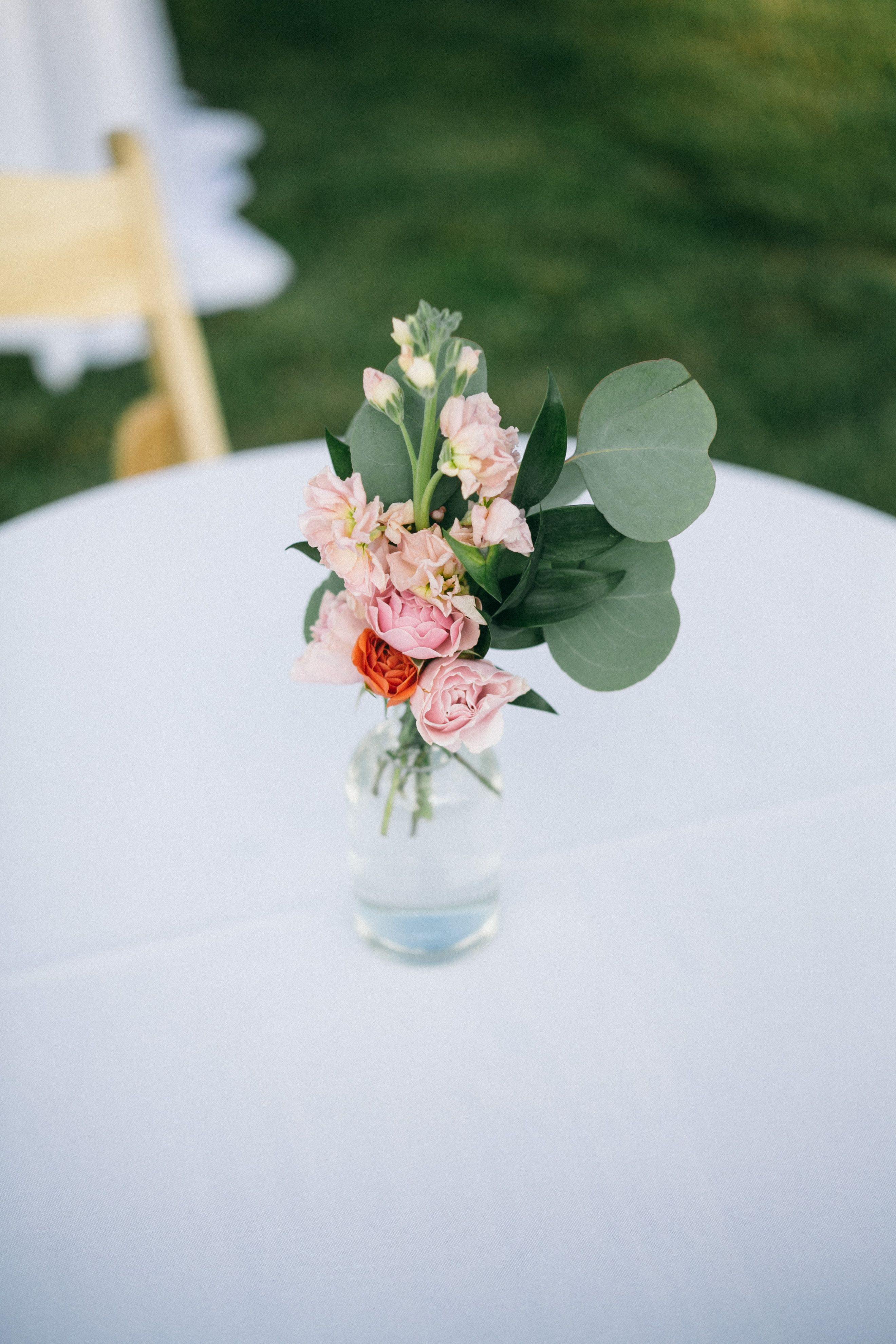 Simple Cocktail Table Centerpieces For An Outdoor Wedding