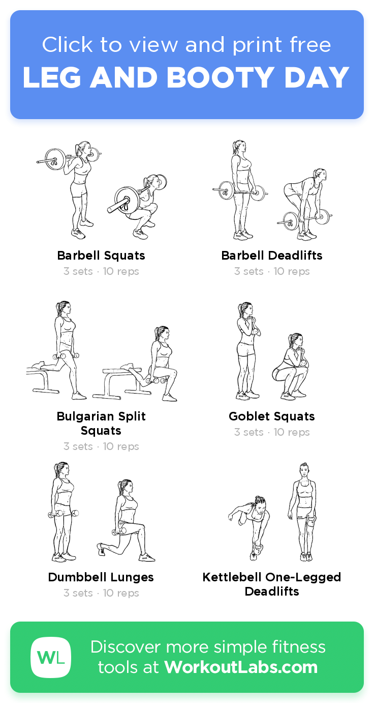 LEG AND BOOTY DAY · Free workout by WorkoutLabs Fit