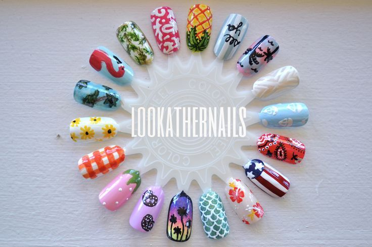 The pineapple, the flamingo! And the bandana print!   nails ...
