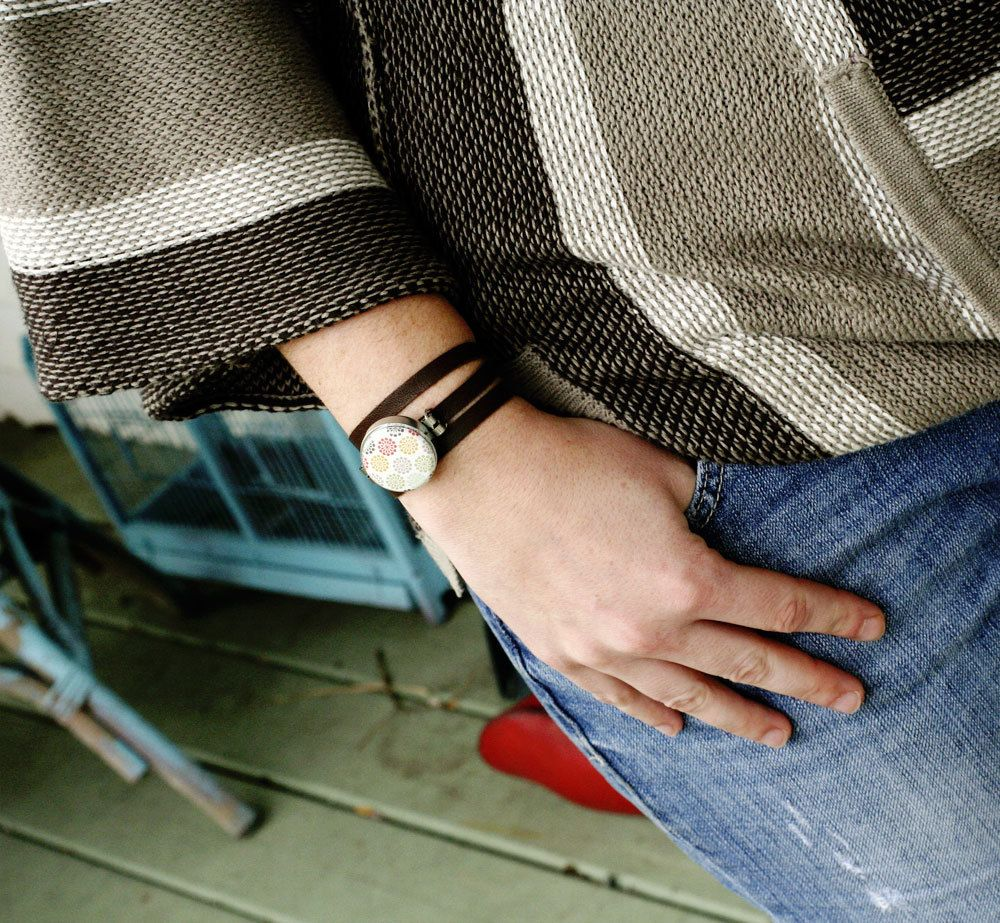 Neon Magnetic Bracelet - Interchangeable - Black Leather Wrap Band  - Recycled by Polarity. $28.00, via Etsy.