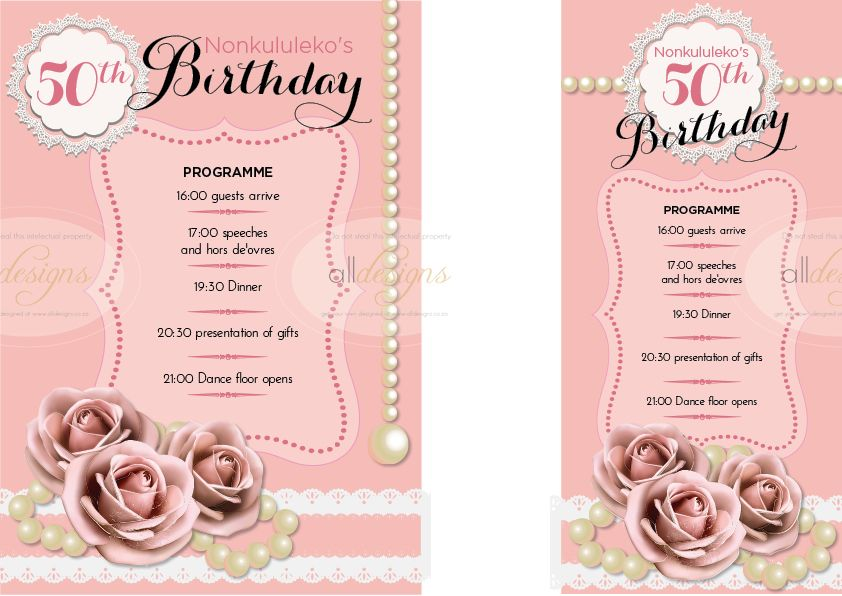 party programmes as a5 or dl options for a woman s 50th birthday