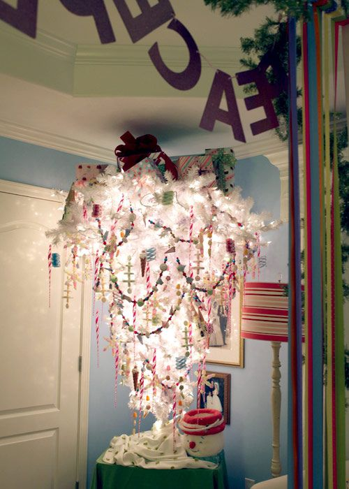 whimsical upside down Christmas tree... perfect way to have a tree and keep tiny fingers away...