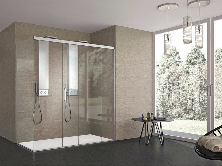 2 places rectangular crystal shower cabin with sliding