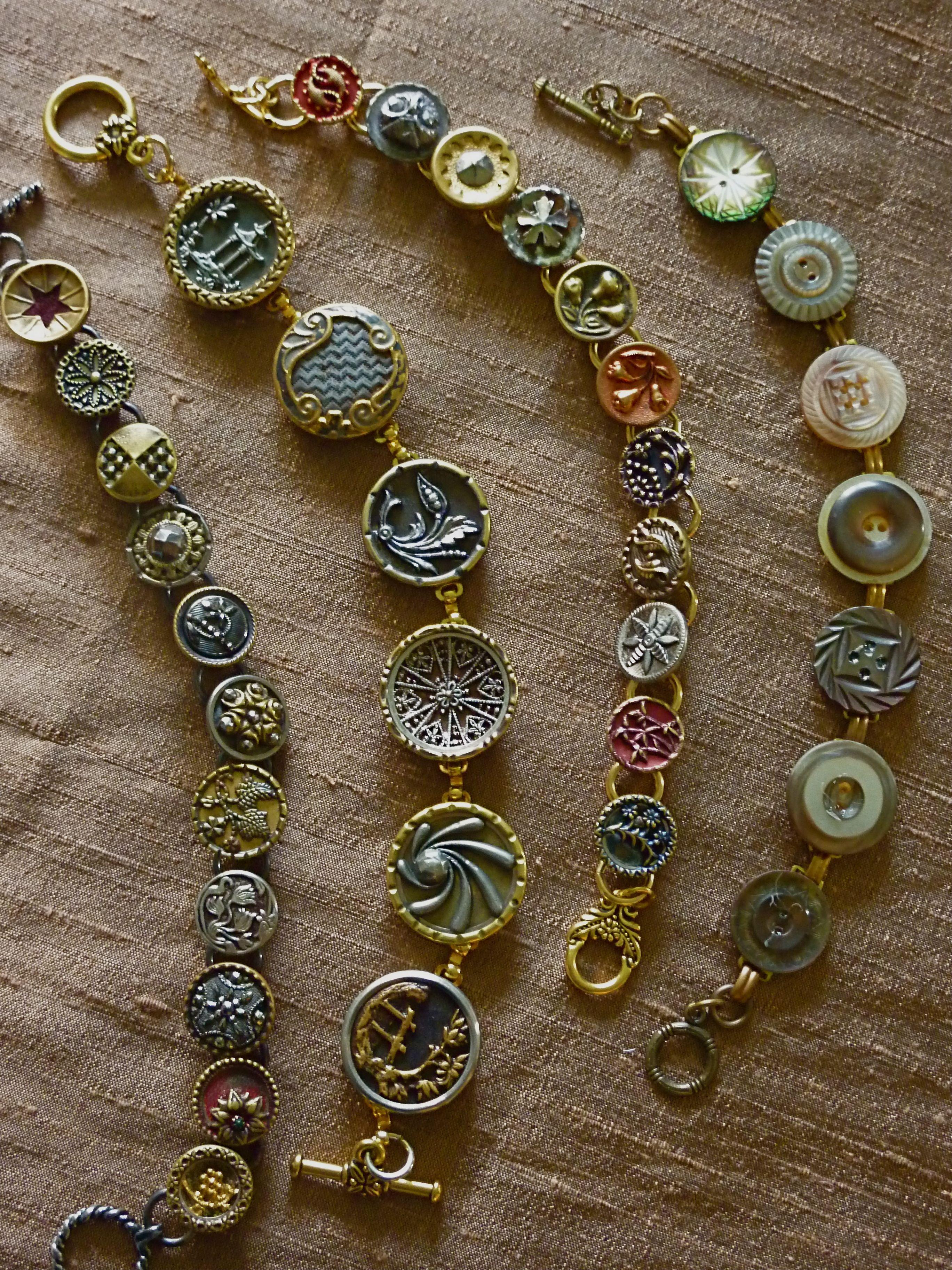 Vintage button pendant bracelets