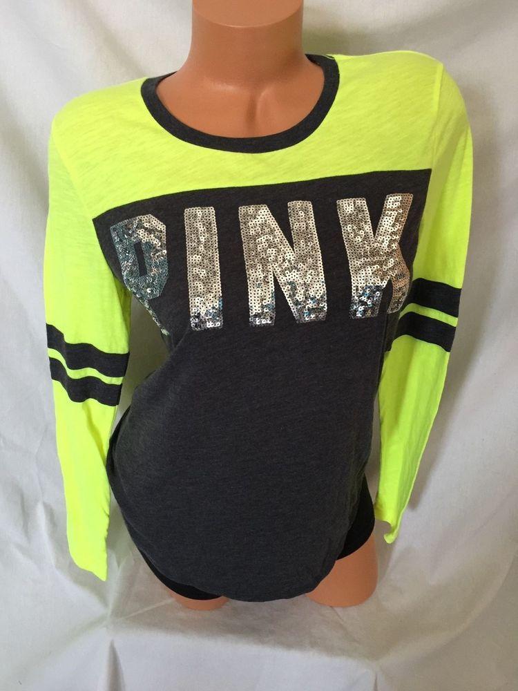 9edf0fae9f922 Victoria's Secret PINK T-Shirt Long Sleeve Bling Gray & Neon Yellow ...